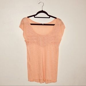 American Eagle orange embroidered tee